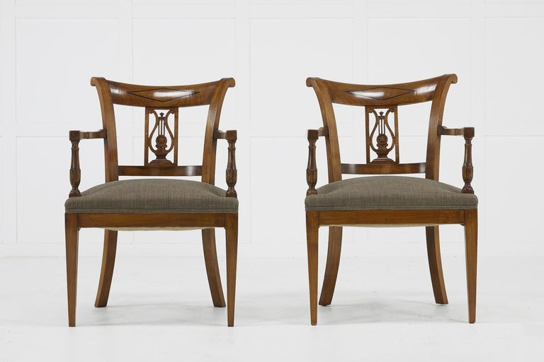 Set of Twelve 19th Century Austrian Cherrywood Dining Chairs For Sale 1
