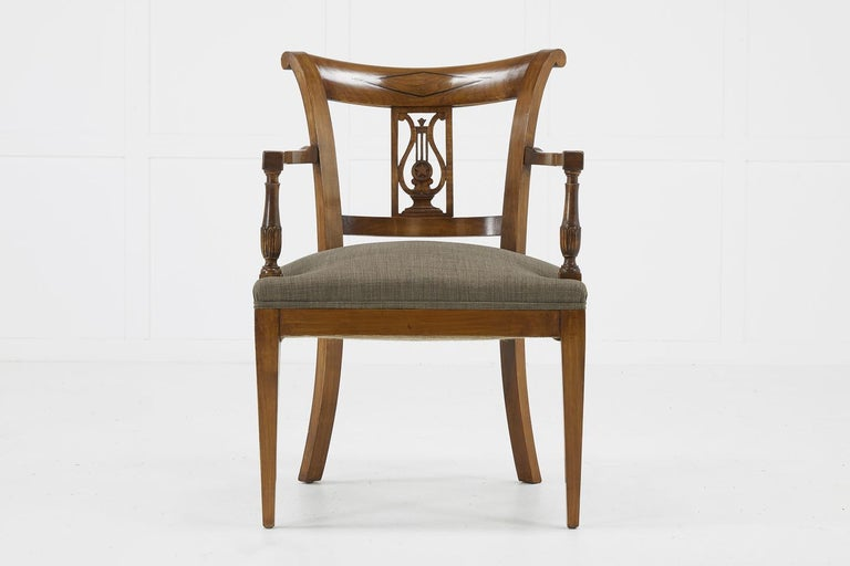 Set of Twelve 19th Century Austrian Cherrywood Dining Chairs For Sale 2