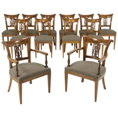 Set of Twelve 19th Century Austrian Cherrywood Dining Chairs