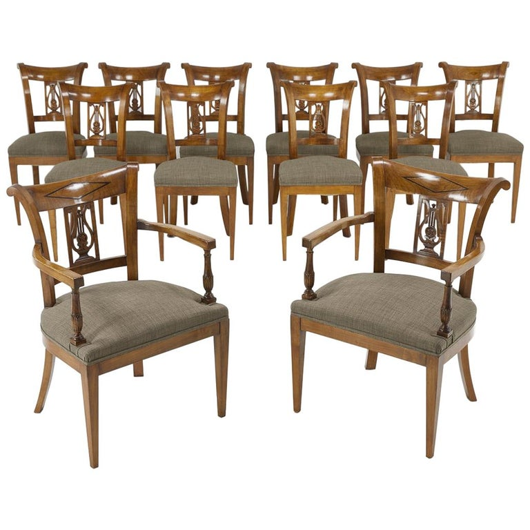 Set of Twelve 19th Century Austrian Cherrywood Dining Chairs For Sale