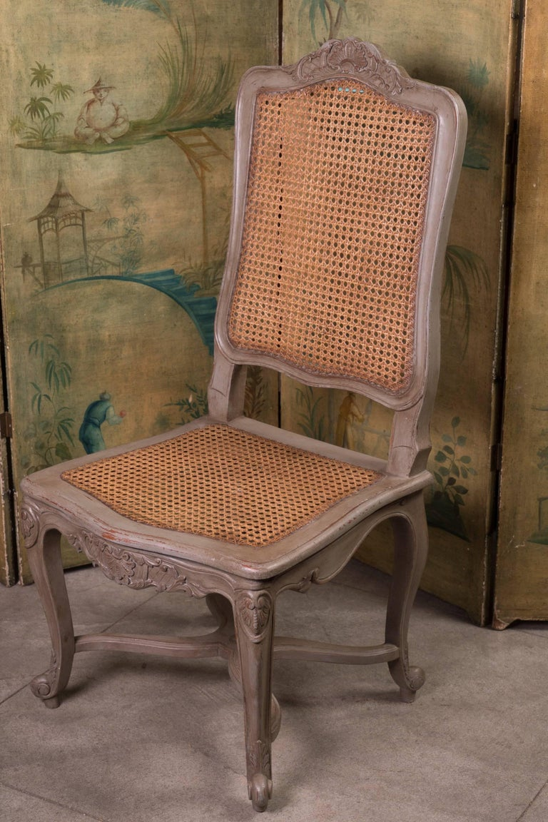 Set of 12 19th Century Painted Dining Chairs For Sale 1