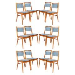 Set of Twelve 20th Century Blue Velvet Chairs, Poland, 1960s