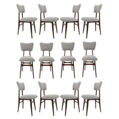 Set of Twelve 20th Century Gray Boucle Chairs, 1960s