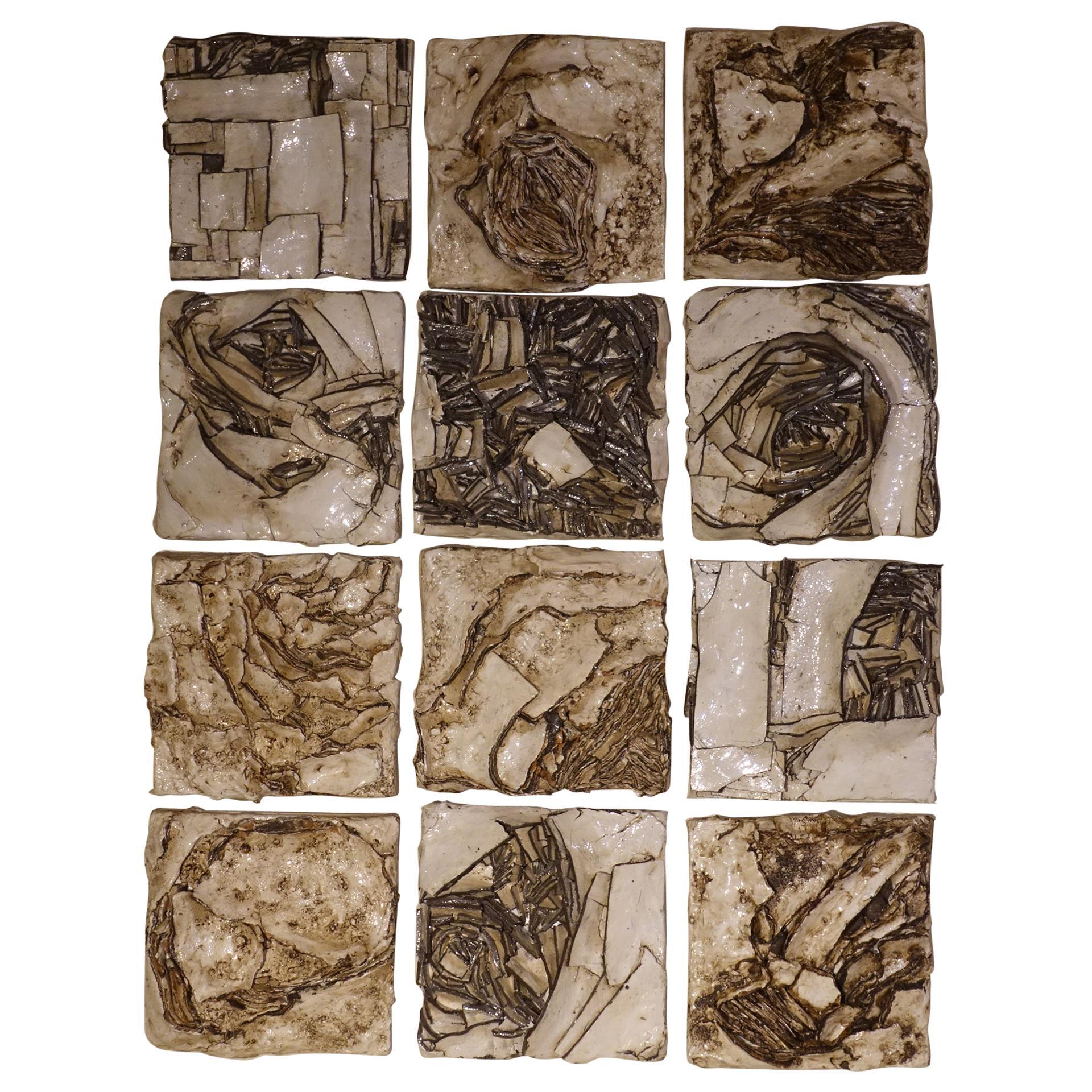 Set of Twelve Abstract Ivory Glazed Ceramic Wall Decorative Art, Italy, 2020