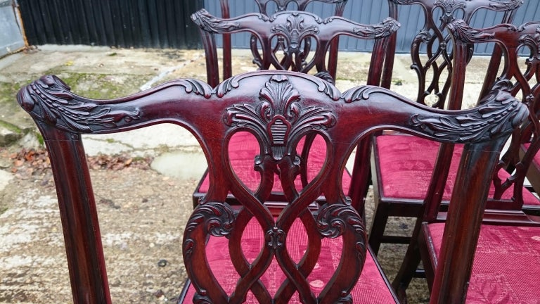 Mahogany Set of Twelve Antique Chippendale Dining Chairs by Edwards and Roberts For Sale