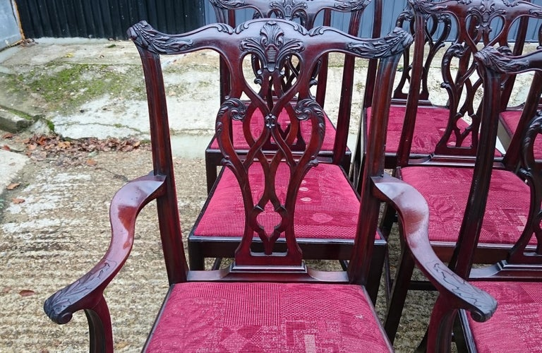 Set of Twelve Antique Chippendale Dining Chairs by Edwards and Roberts For Sale 1