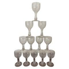 Set of Twelve Antique Etched Glasses