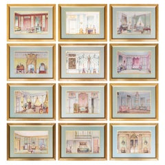 Set of Twelve Antique French Interior Decor Prints