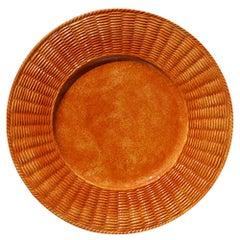 Set of Twelve Arancio Wicker Ceramic Plates