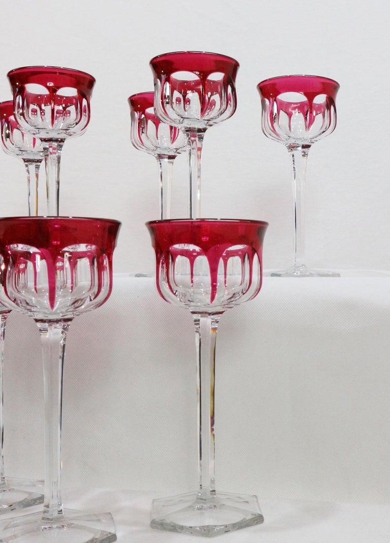 Set of Twelve Baccarat Hartcourt Wine Rhine Amethyst Color Mark under the Base 5