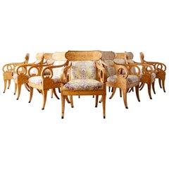 Set of Twelve Baker Regency Style Burl Wood Klismos Armchairs