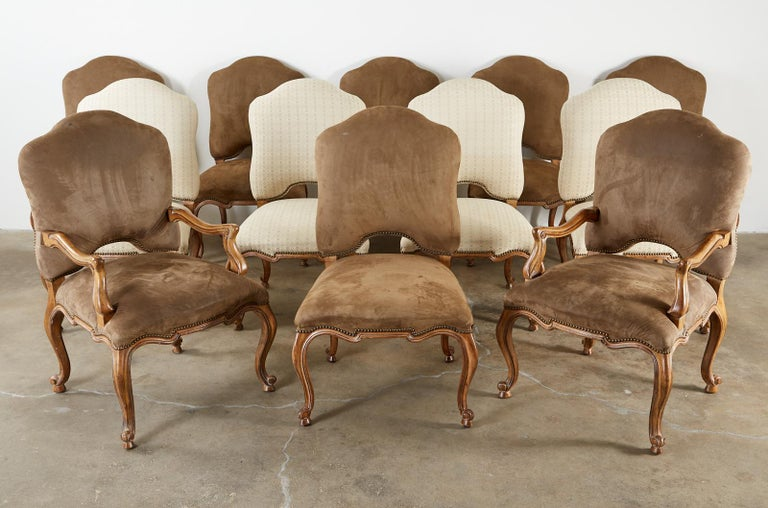 Hand-Crafted Set of Twelve Baroque Style Dining Chairs by Kreiss Collection For Sale