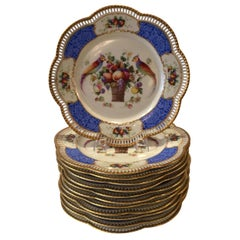 Set of Twelve Bavarian Reticulated Dinner/Service with Birds and Flowers Plates