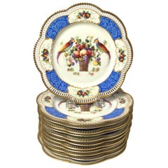 Set of Twelve Bavarian Reticulated Plates Decorated with Birds and Flowers