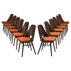Set of Twelve Bentwood Dining Chairs with Coral Upholstery