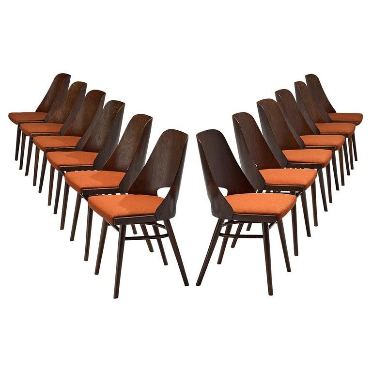 Set of Twelve Bentwood Dining Chairs with Coral Upholstery For Sale