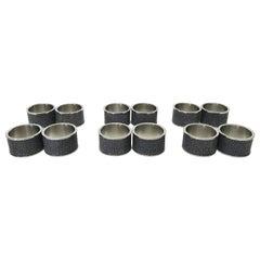 Set of Twelve Black Shagreen Napkin Rings by Fabio Ltd
