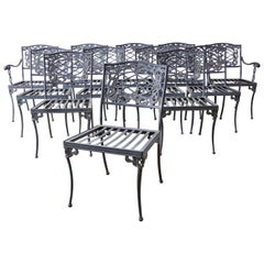 Set of Twelve Brown Jordan Neoclassical Style Garden Chairs
