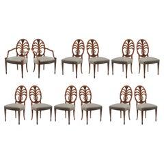 Set of Twelve Custom Mahogany Dining Chairs Jansen or Jansen Style 2 Arm 10 Side