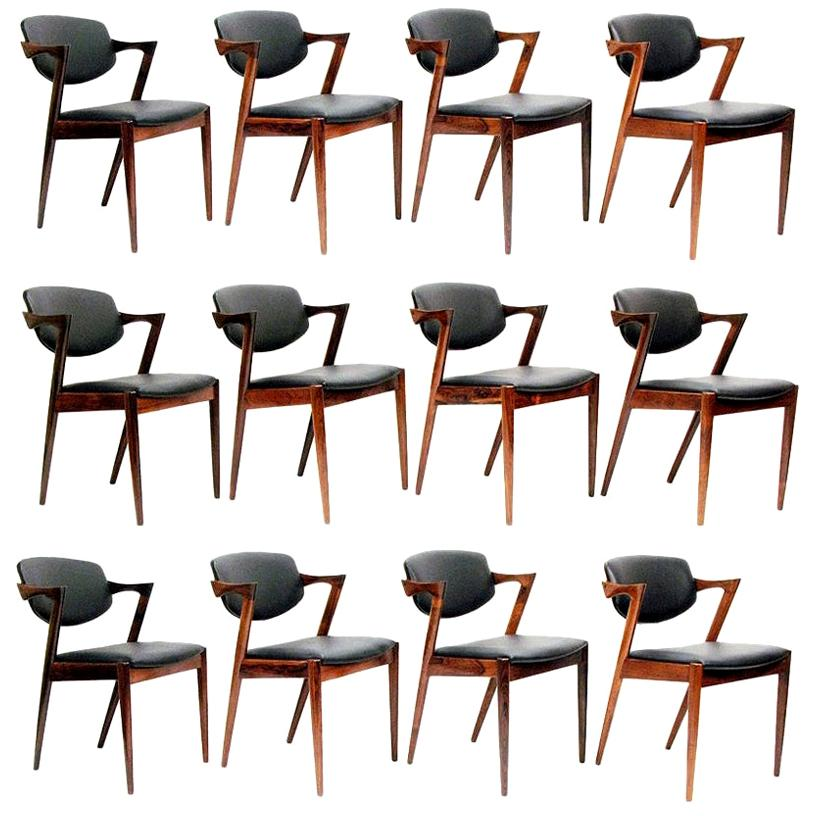 """Set of Twelve Danish """"Model 42"""" Chairs in Rosewood & Leather by Kai Kristiansen"""