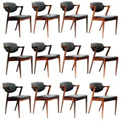 "Set of Twelve Danish ""Model 42"" Chairs in Rosewood & Leather by Kai Kristiansen"