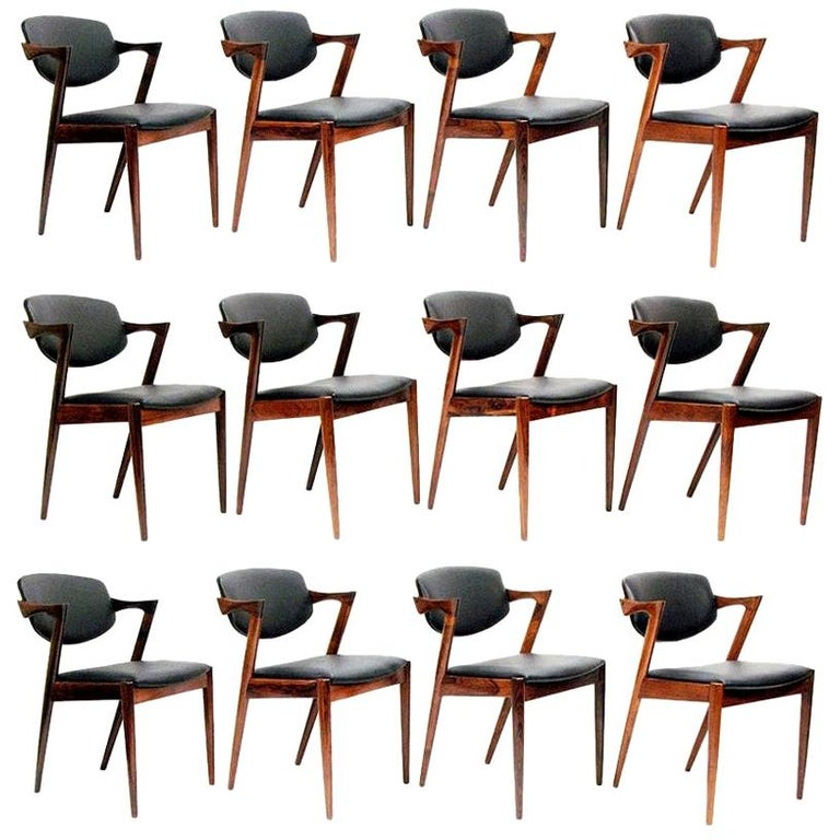 "Set of Twelve Danish ""Model 42"" Chairs in Rosewood & Leather by Kai Kristiansen For Sale"