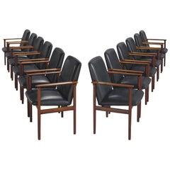 Set of Twelve Danish Rosewood Armchairs