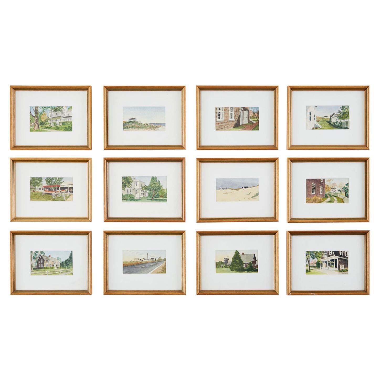 Set of Twelve Diminutive Watercolor Paintings of the Hamptons
