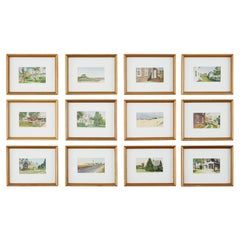 Set of Twelve Diminutive Watercolor Paintings of the Hamptons