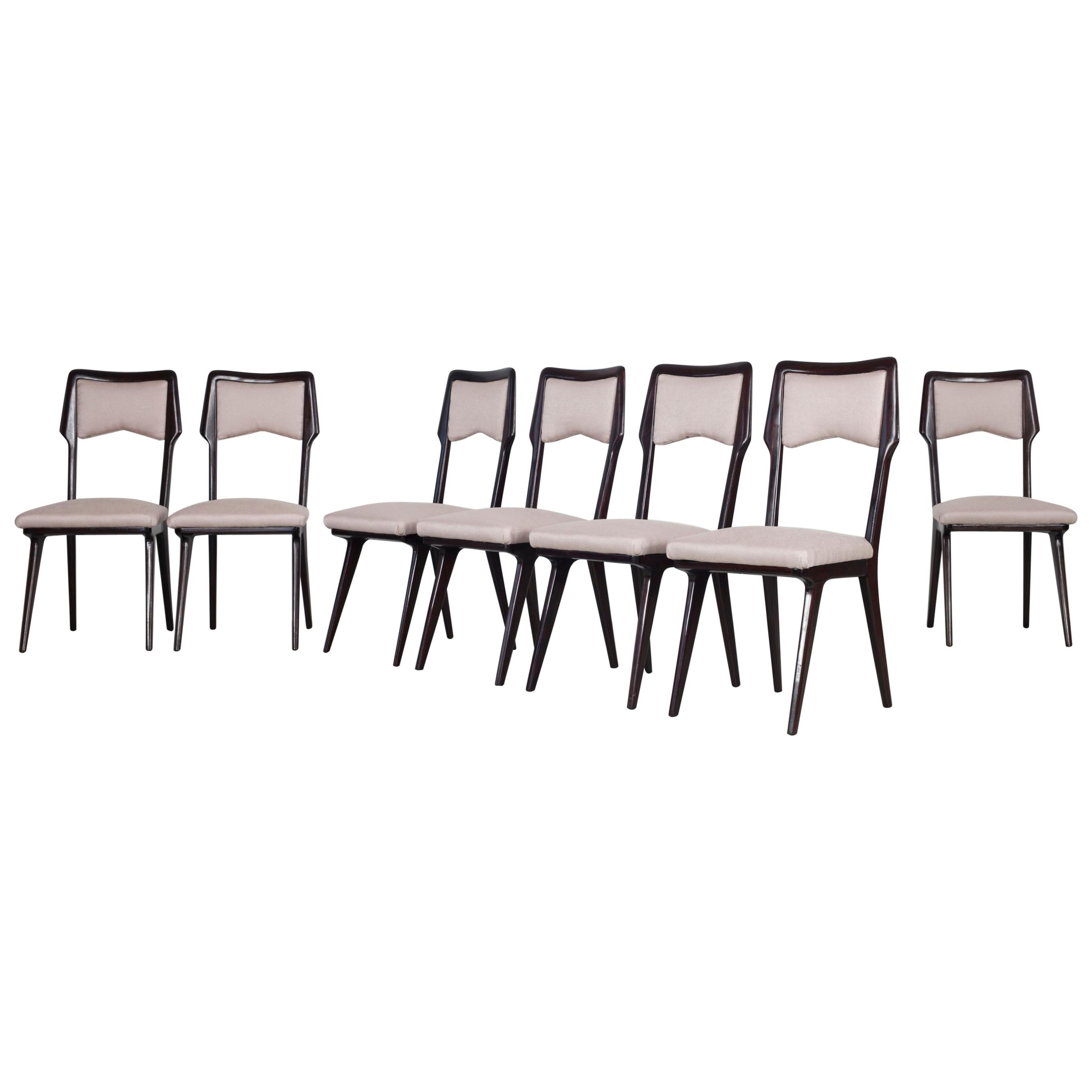 Set of Twelve Dining Chairs, Design by Vittorio Dassi, Italy, 1950s