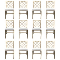 Set of Twelve Dining Chairs, Faux Bamboo, Chinese Chippendale, Gold, Aluminum