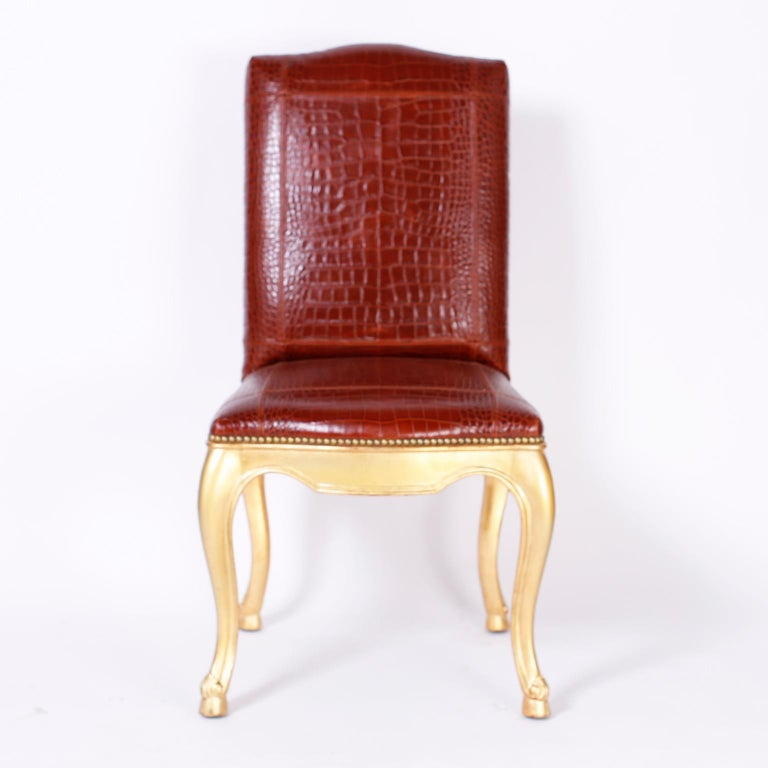 Louis XV Set of Twelve Dining Chairs with Faux Alligator Upholstery by Ralph Lauren For Sale