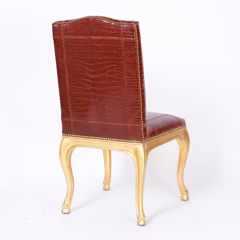 Set of Twelve Dining Chairs with Faux Alligator Upholstery by Ralph Lauren In Good Condition For Sale In Palm Beach, FL