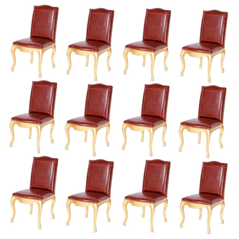 Set of Twelve Dining Chairs with Faux Alligator Upholstery by Ralph Lauren For Sale