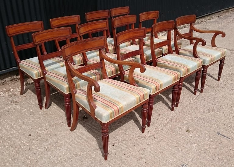 Very fine quality set of twelve Regency mahogany antique dining chairs. This set of chairs are generously proportioned for the period, the seats are deep and the back leg has a generous curve. The design of the leg and the design of the back splat