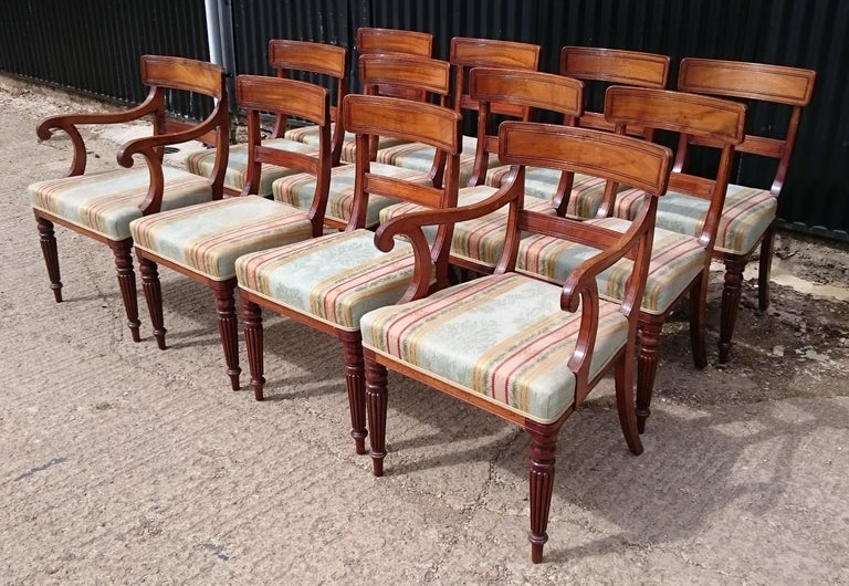 Set of Twelve Early 19th Century Regency Mahogany Antique Dining Chairs For Sale 3
