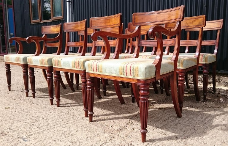 Set of Twelve Early 19th Century Regency Mahogany Antique Dining Chairs For Sale 4