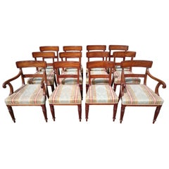 Set of Twelve Early 19th Century Regency Mahogany Antique Dining Chairs