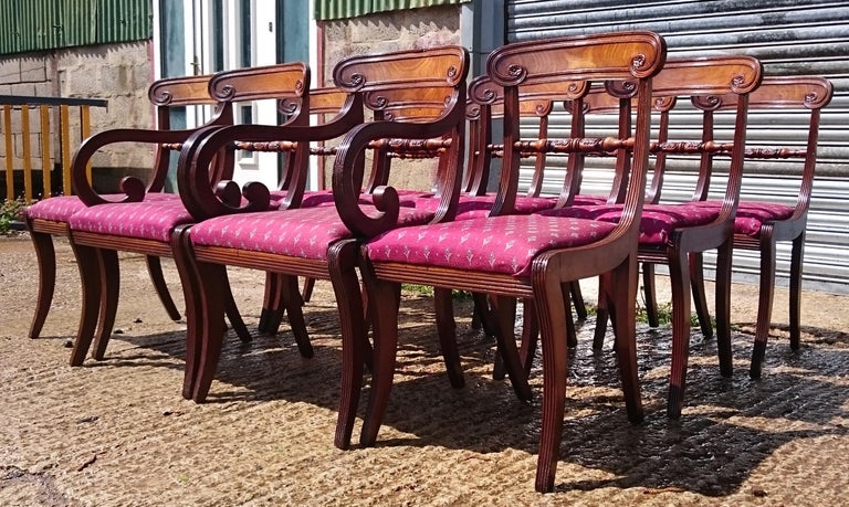 Set of Twelve Early 19th Century Regency Mahogany Antique Dining Chairs In Good Condition For Sale In Gloucestershire, GB