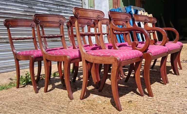 Set of twelve early 19th century Regency mahogany antique dining chairs. This is a really fine set of chairs, they have sabre legs, they are well drawn with good proportions, they are crisply carved and they are made of fine close grained mahogany.