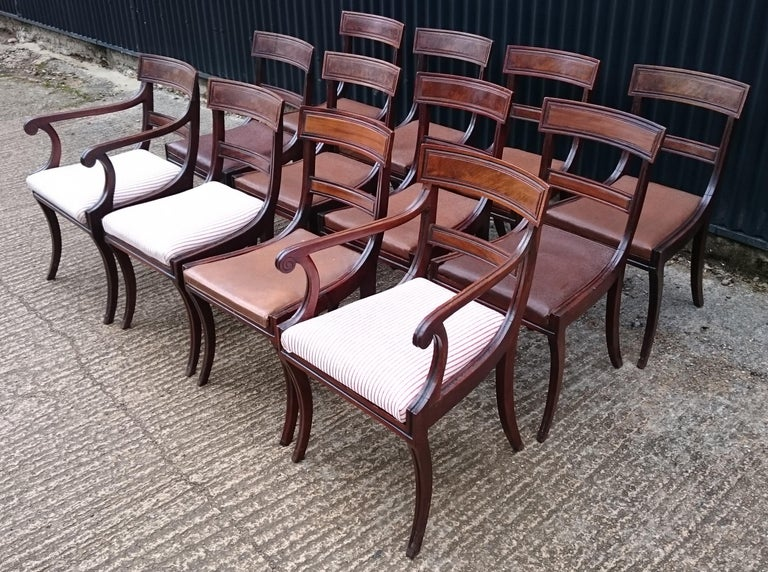 Set of Twelve Early 19th Century Regency Mahogany Antique Dining Chairs For Sale 2