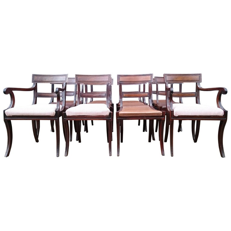 Set of Twelve Early 19th Century Regency Mahogany Antique Dining Chairs For Sale