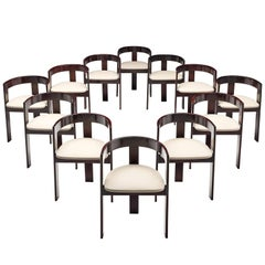 Set of Twelve Ebonized Italian Dining Chairs