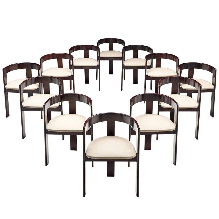 Set of Twelve Ebonized Italian Dining Chairs