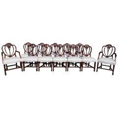 Set of Twelve English Mahogany Hepplewhite Style Shield Back Chairs, Circa 1840