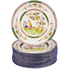 Set of Twelve English Porcelain Dinner Plates, Coalport, circa 1900
