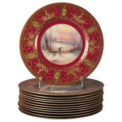 Set of Twelve English Porcelain Gilt Dinner Plates, Royal Worcester, Circa 1900