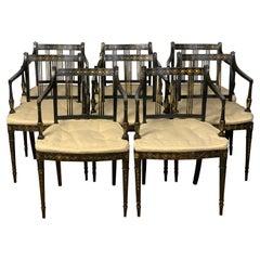 Set of Twelve English Regency Ebonized Dining Armchairs