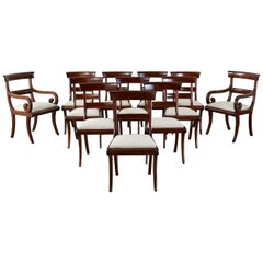 Set of Twelve English Regency Mahogany Dining Chairs