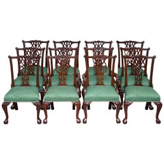 Set of Twelve English Thomas Chippendale Claw & Ball Mahogany Dining Chairs 12